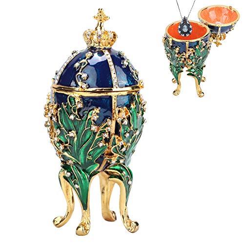 Huevos Pintados, Pintado a Mano Esmaltado Faberge Huevo Pintado Coral Vides Caja de joyería de Metal para Collar Pulsera Baratija Inicio Decoración de Escritorio Regalos