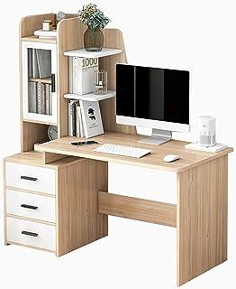 Bureau d'ordinateur avec étagère de Rangement, Bureau de ménage en Bois Massif avec tiroirs et étagères, Bureau de Chambre...