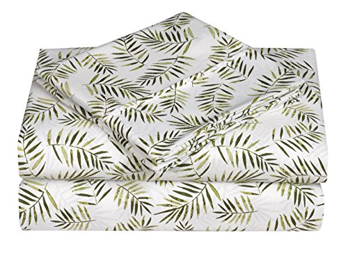 Elegant Comfort Ultra-Soft Double Brushed 3-Piece Microfiber Sheet Set. Beautiful Tropical Patterns, and Vibrant Solid Colors, Luxury, All-Season Bed Sheet Set - Palm Leaves, Twin