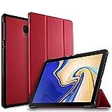 IVSO Samsung Galaxy Tab S4 10.5 SM-T830 (Wi-Fi)/SM-T835 (LTE) タブレット ケース 新型 Samsung Galaxy Tab S4 10.5 SM-T830 カバー NEWモデル スタンド機能付き 保護ケース 三つ折 マグレット開閉式 薄型 超軽量 全面保護型 サムスン Galaxy Tab S4 10.5 SM-T835 スマートケース レッド