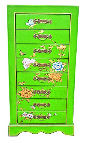 OPIUM OUTLET Chinesisches Schmuckschränkchen Schmuck-Kästchen Telefon-Kommode handbemalt aus China hell-grün 8 Schubladen