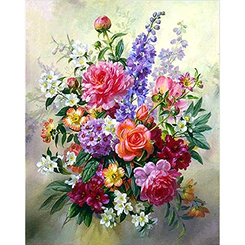 Fundaful DIY Diamond Painting Kits for Adults, Full Round Drill Dotz Colorful Flowers Bouquet Paint with Diamonds Rhinestone Cross Stitch Art Craft Home Wall Decor Christmas Gift