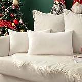 MIULEE 2 Unidades Fundas de cojín para sofá Almohada Caso de Diseño Compuesto de Polar Fleece Cómodo Decoración para Habitacion Juvenil Sofá Comedor Cama Dormitorio Oficina 30 x 50cm Blanca
