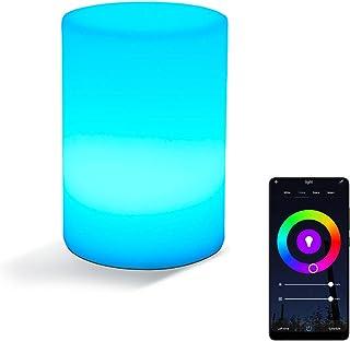 Inteligente Lámpara de Mesa,LED Cilindro Mesita de Noche Luz de Escritorio,Compatible con Alexa Google Home,WiFi RGB Luces Nocturnas,Controlado por Voz/APP/Tocar Regulable Minutero USB Recargable,S