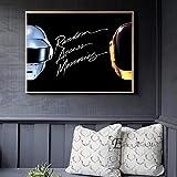WSHIYI Daft Punk Casco Máscara Música Póster e impresión Lienzo Arte Pintura Cuadros de Pared para la decoración de la Sala de Estar Decoración del hogar 50x70cm (20x28 Pulgadas) Sin Marco