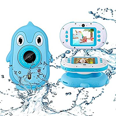"Luoges Kids Waterproof Digital Camera Toys for 4-12 Year Old Boys Girls Christmas Birthday Gifts,Underwater Camera for Toddlers with 2.4"" Large Screen with Soft Silicone Case and Build-in Game from LUOSI"