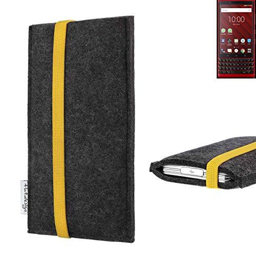 flat.design vegane Handy Tasche Coimbra für BlackBerry KEY2 Red Edition - Schutz Hülle Tasche Filz vegan fair gelb