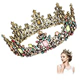 Number-one Baroque Queen Crown Colorful Rhinestone Wedding Crowns and Tiaras for Women Girls, Vintage Birthday Tiara, Costume Party Hair Accessories for Wedding Birthday Pageant Cosplay Party