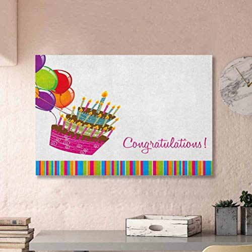 ParadiseDecor Birthday Poster for Toddlers Wall Pink Written Congratulations Graphic Cake Candles Balloons Birthday Art Print Gifts for Men Multicolor L32 x H48 Inch