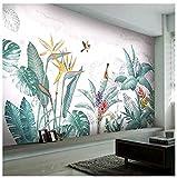Plantes tropicales peintes à la main nordique moderne fleur oiseau feuille fond...