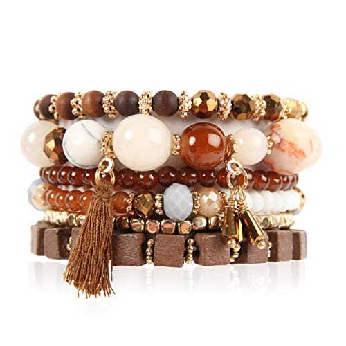 RIAH FASHION Multi Layer Versatile Statement Bracelets - Stackable Beaded Strand Stretch Bangles Sparkly Crystal, Wood Bead, Tassel Charm (Cubic Wood & Tassel - Brown)