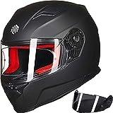 ILM Motorcycle Street Bike Full Face Helmet Anti-fog Pinlock Shield Snowmobile Helmets DOT ECE for Men Women (Matt Black, L)