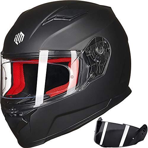 ILM Motorcycle Street Bike Full Face Helmet Anti-fog Pinlock Shield Snowmobile Helmets DOT ECE for Men Women (Matt Black, M)