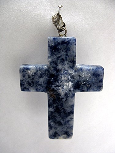 Natural Mente – Pendentif sodalite, croix, pierres précieuses, collier en pierre semi-précieuse, sodalite, n° 1