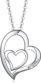 FANCIME Collana Donna Cuore in Argento Sterling 925 Collana di Diamanti Donna Regalo per Lei Mamma Moglie Fidanzata Comple...