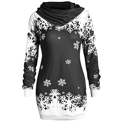 Songqiang Moda Mujer Sudaderas con Capucha Feliz Navidad Copo De Nieve Impreso Tops Sudadera con Cuello Vuelto Promociones De Bajo Precio Sudaderas con Capucha Delgadas-Negro_S_China
