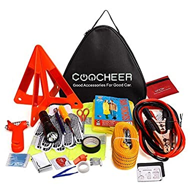 COOCHEER Car Emergency Kit, Multifunctional Roadside Assistance 40-In-1 Car Safety Kit with Jumper Cables,Tow Rope,Triangle,Flashlight,Tire Pressure Gauges,Safety Hammer etc(40 in 1, Black)