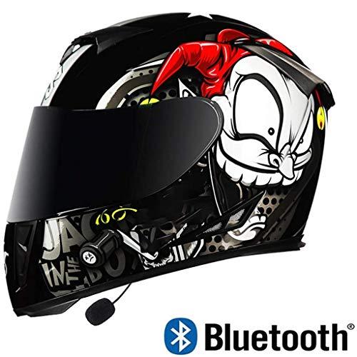 Bluetooth Integrado Cascos De Motocicleta, Aprobado por El Dot Antideslumbrante De La Cara Llena Tirón Encima del Doble Viseras, Bicicletas Motocross Cascos Intercomunicador FM Radio Casco,Negro,M