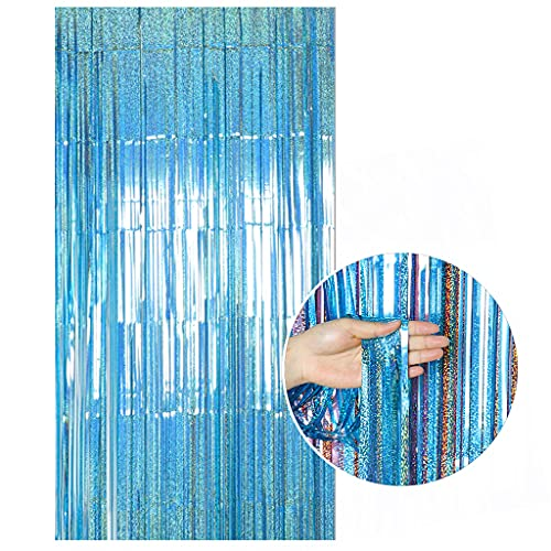 ShinyBeauty 1 Pack Metallic Tinsel Curtains 3.3ftx6.6ft Sparkly Teal Foil Fringe Curtains Door Window Backdrop DIY Tassel Garland Banner for Wedding Foil Curtain Party Supplies