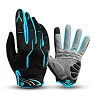 Breathable fabric - The back of the cycling gloves with good elasticity breathable material, allows sweat to evaporate and hands stay dry. Palm breathable holes releases the heat and ensures the comfort to wear. Super anti-shock performance - Three p...
