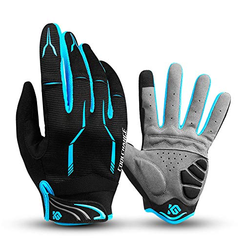 I Kua Fly Cycling Gloves Full Finger Mountain Bike Gloves Gel Padded Touchscreen MTB Gloves for Men Women, Blue, M