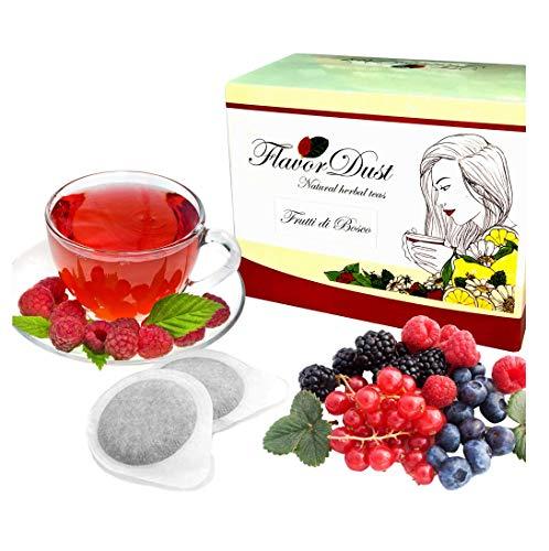 Flavordust Tisane 60 Cialde Frutti di Bosco Naturali formato in carta filtro Standard ESE per Macchine a cialde caffè
