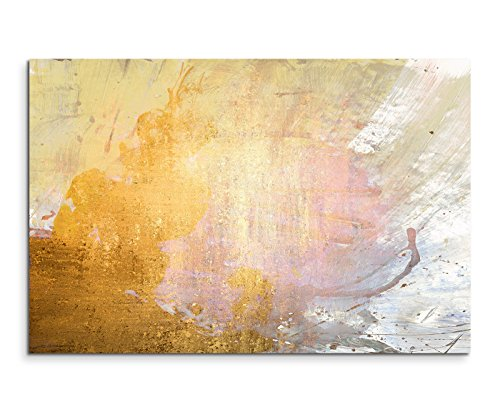 Paul Sinus Art 120x80cm Leinwandbild Leinwanddruck Kunstdruck Wandbild gelb beige grau weiß gemalt
