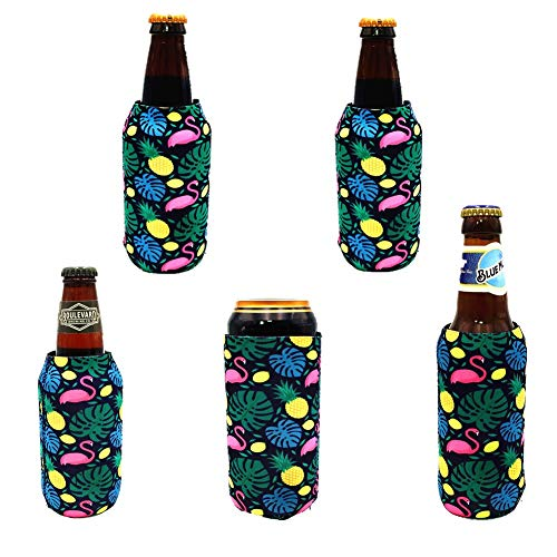ShengLai can cooler sleeve for 12oz Tall Skinny Cans bottle coozie insulated beer bottle koozies holders to keep cold for cans like White Claw,Red Bull,Michelob Ultra-NY17 Single Color-5pack