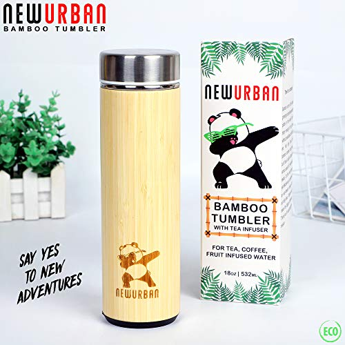 Bamboo Tumbler Original Eco Thermos with Tea Infuser + Strainer 18oz/511ml for Loose Leaf Tea, Coffee & Fruit Water Flask. Double Wall Vacuum Insulated Travel Bottle. Leak Proof + BPA Free