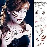 ZERHOK 9Stk Karneval Temporäre Tattoos Zombie Narben Tattoos Aufkleber Make up Wunden Horror Ritzen Realistisch Gesichtstattoos für Ostern Masken Party Halloween