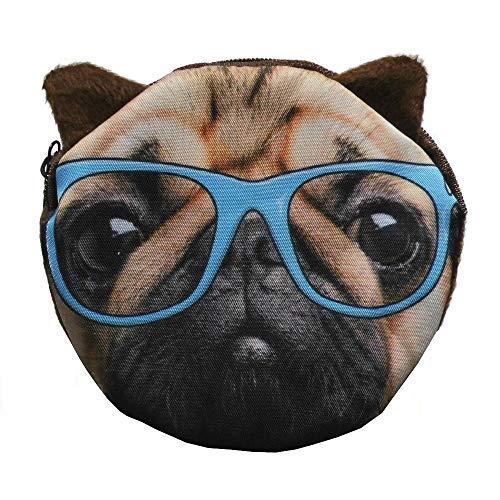 Mops Pug mit Blauer Brille Plüsch Geldbörse Münzbörse