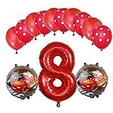 ENXI Globos Mcqueen Ellos 1 Set Autos Lightning 32 Pulgadas Números Balloon Set 13pcs / Set Movilización de automóviles Baby Boy Cumpleaños Fiesta de decoración Suministros ( Color : Rose Red )