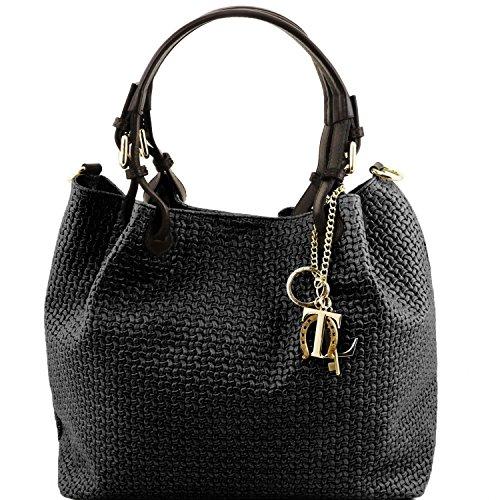 Tuscany Leather TL KeyLuck - Borsa shopping in pelle stampa intrecciata - TL141573 (Nero)