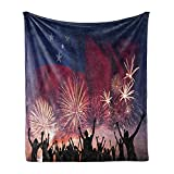 Lunarable Samoa Soft Flannel Fleece Throw Blanket, Celebration Themed Illustration with Happy People Silhouettes Fireworks and Flag, Cozy Plush for Indoor and Outdoor Use, 50' x 70', Multicolor