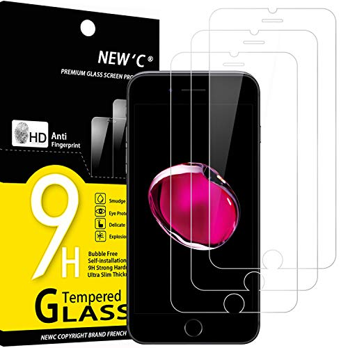 NEW'C 3 Pezzi, Vetro Temperato per iPhone 7, iPhone 8 (4.7'), Pellicola Prottetiva Anti Graffio, Anti-Impronte, Senza Bolle, Durezza 9H, 0,33mm Ultra Trasparente, Ultra Resistente
