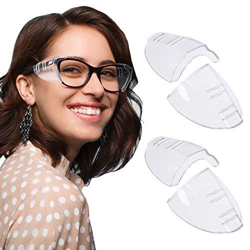 RMENOOR 2 Paar Brille Seitenschutz Anti-UV Schutzbrille Seitenschutz Transparente Seitenschutzbrille Sicherheit Schutz Brille für Kleine / Mittlere / Große Brillen