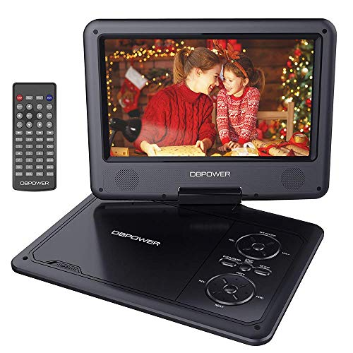"DBPOWER 11.5"" Portable DVD Player, 5-Hour Built-in Rechargeable Battery, 9"" Swivel Screen, Support CD/DVD/SD Card/USB, Remote Control, 1.8 Meter Car Charger and Power Adaptor (Black)"