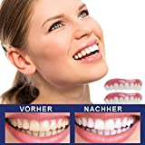 JYZ 1 Pairs Cosmetic Teeth Smile Comfort Fit Flex Teeth - Upper and Lower Matching Set Dentures Teeth Whitening Alternative, Smile Confident in Minutes