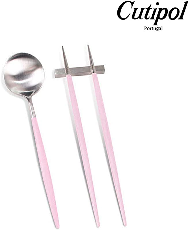 Cutipol GOA Pink And Silver Series Home Dinner Flatware Cutlery Set Of 4pcs Spoon Chopstick Holder Professional Cutlery Brand