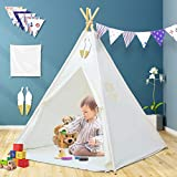 Senodeer Teepee Tent for Kids with Mat & Bunting Banner & Feathers & Carry Bag, Kids Teepee for Indoor and Outdoor Use, Toys for Boys and Girls, Kids Gifts for Birthday and Party (Tipi with Feathers)