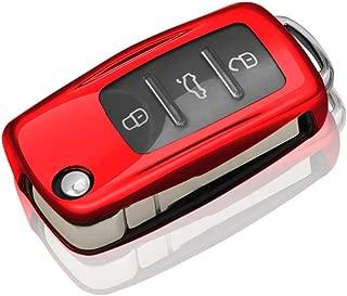 QBUC for VW Volkswagen Key Fob Cover, Soft TPU Full Protection Key Holder Key Case Car Key Protector for Volkswagen for VW Accessories LaVida Sagitar Jetta Polo Santana Skoda Passat Golf etc(Red)