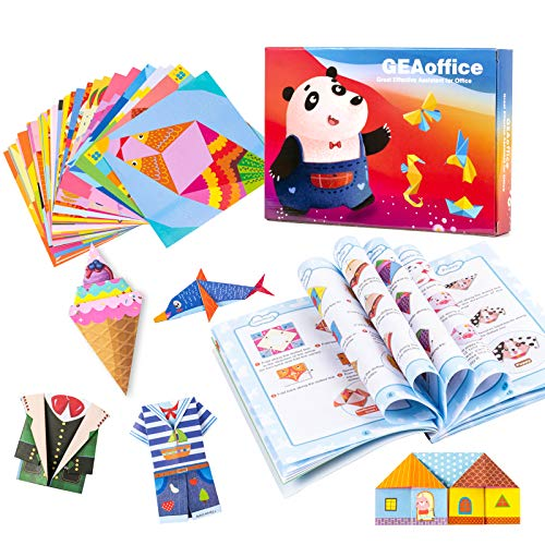 Origami Paper for Kids, GEAoffice Kids Origami Kit Double Sided 152 Sheets Color Origami Paper Kit with 72 Projects, Easy Origami Book and Paper for Kids Adults Beginner Training & Craft Lessons