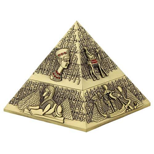 Kepfire Jahrgang Klassisch mit Deckel Zigarette Aschenbecher Europäisch Wohnzimmer Hotel Büro Kaffee Tabelle Deko Uralt Ägypten Skulptur Pyramid Deko - Bronze