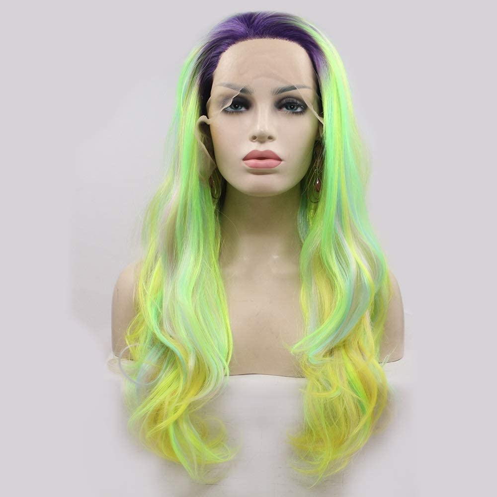 JiYZe Wigs Multicolor Long Curly Hair E Handmade Lace Wig Free shipping Ladies Max 61% OFF