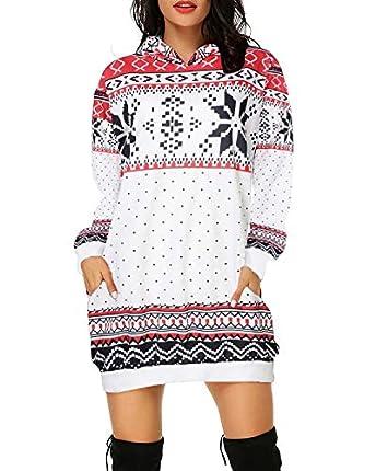 Auxo Sudadera con Capucha Mujer Talla Grande Vestido Sudadera Hoodie Manga Larga Jersey Larga Navidad 07-Blanco A S