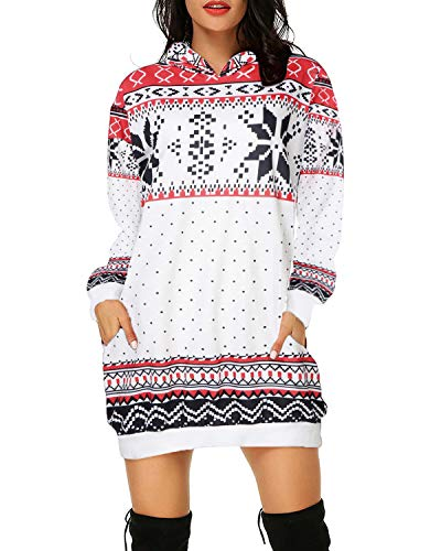 Auxo Sudadera con Capucha Mujer Talla Grande Vestido Sudadera Hoodie Manga Larga Jersey Larga Navidad 07-Blanco A XXL
