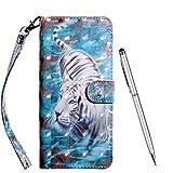 TOUCASA für LG K40S Hülle, Handyhülle Brieftasche PU Leder Flip [3D] Hülle Magnetverschluss Handytasche Klapphülle Tasche Lederhülle Schutzhülle (Tiger)