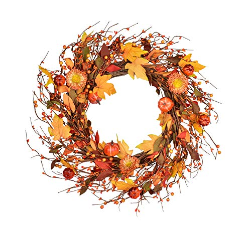 Artificial Fall Berry Wreath - 20 inch with Branches and Berries
