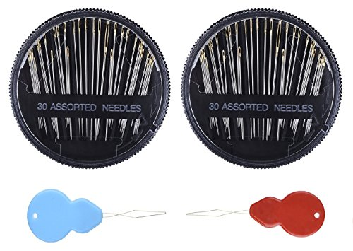 Assorted Hand Sewing Needles – 30 Count each – (2 Pcs Pack) and Bonus Two Needle Threader. Stainless Steel Needles for hemming, embroidery, alteration, mending, crafts, quilting, Stitching etc