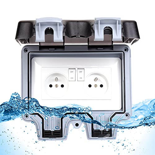 Enchufe impermeable exterior IP66 impermeable exterior 16 A (doble toma con interruptor gris)
